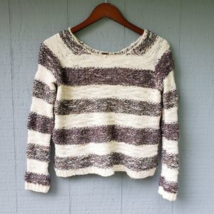 Free People Marled Boucle Crop Sweater Striped XS